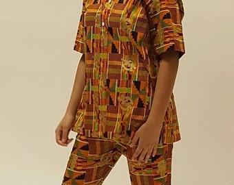African Clothes Gye Nyame kente pants set Kente Print African Clothes