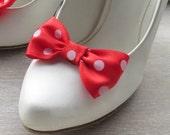 Satin ribbon bows shoe clips metal- 3 pairs /shoe embellishment/ shoe decoration/ bridesmaid gift idea/