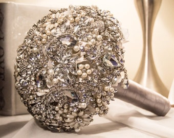 Crystal and Pearl Brooch Bouquet - Full Price