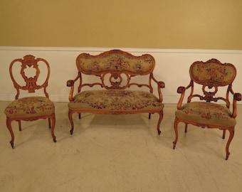 F28455E: Antique Aubusson 3 Piece French Victorian Parlor Set