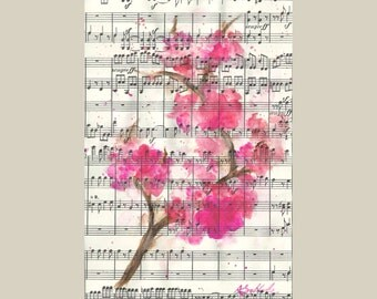 Cherry Blossom Branch over Music - 5x7 Watercolor Painting