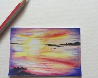 Rainbow sunset ACEO/ Artists trading card. Coloured pencil. Free UK delivery.