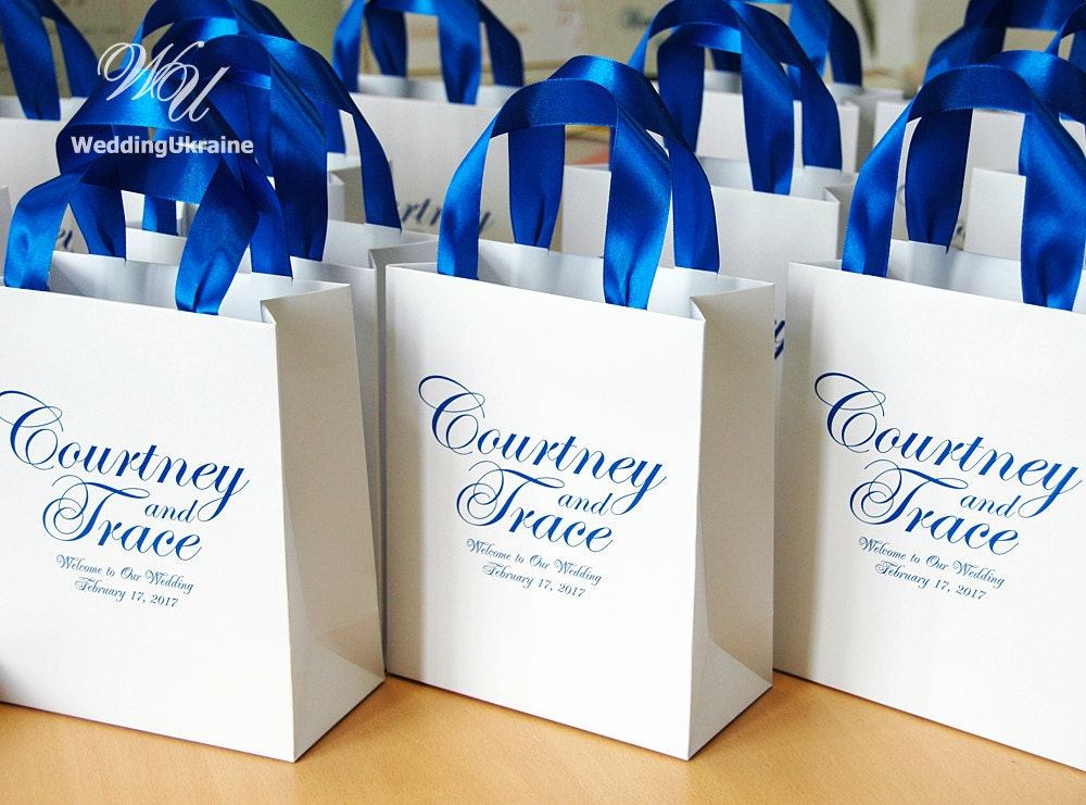 Royal Wedding Gifts: 25 Wedding Welcome Bags With Royal Blue Satin Ribbon And Names