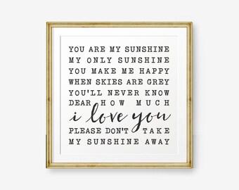 You are my sunshine Square Printable, Newborn Baby Gift, Baby Shower gift, nursery decor, kid decor, new baby gift, Lyrics decor, Retro Art