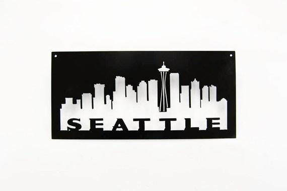Seattle Skyline cut out of steel