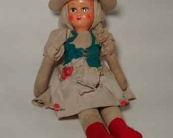 SALE! Vintage Sawdust Body Hard Plastic Face Cowgirl Doll 11.5 in. Tall