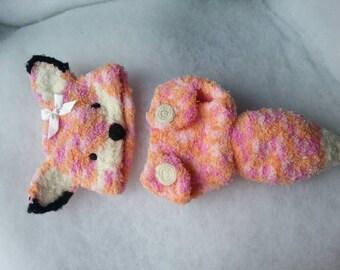 Baby fox costume. Baby girl fox photo prop.  crocheted Fox baby outfit.  Girl fox First Photo costume.
