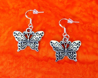 50% SALE Butterfly Earrings..Butterfly Jewelry..Birthday Gift for Her..Gift For Mom..Gift For Women..925 Sterling Silver Wires FREE SHIPPING
