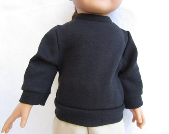Handmade 18 inch doll clothes, Black long sleeved knit shirt for 18 in dolls. Girl doll shirt, black top