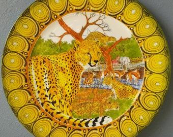 "New! Penzo Safari Splendour Collection Cheetah  Dinner/Buffet Plate 11.4"""