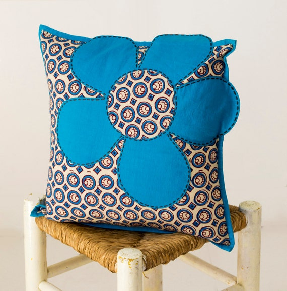 Throw Pillows With Big Buttons : Blue Flower Pillow Floral Throw Pillows Blue Button Pillow