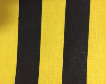 Black Yellow One Inch Stripe Print Poly Cotton Print Fabric - Sold By The Yard -  59""