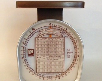 Vintage Scale Metal Pelouze Postal Weighs up to 10 pounds with Ounce Markings  1985 Spring Weight Model Y-10 Industrial, Office,  ON SALE!