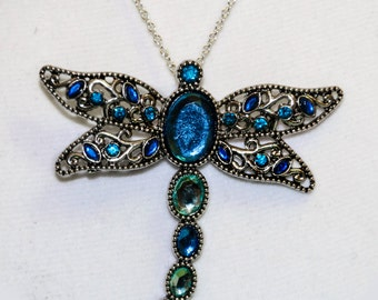 Dragonfly necklace, dragonfly jewelry, silver jewelry, blue dragonfly necklace, summer jewelry, summer necklace, long pendant, blue necklace
