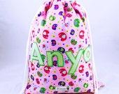 Kids Personalised Drawstring Bag Pink Elephants PE bag Swimming Bag Nursery Bag School bag Shoe Bag Backpack Overnight Bag