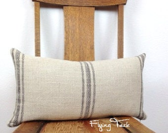 "French Laundry Grain Sack Pillow with Down Insert - Parisian Black Stripes on Oatmeal Background - 12"" x 22""   - Knife Edge Finish"