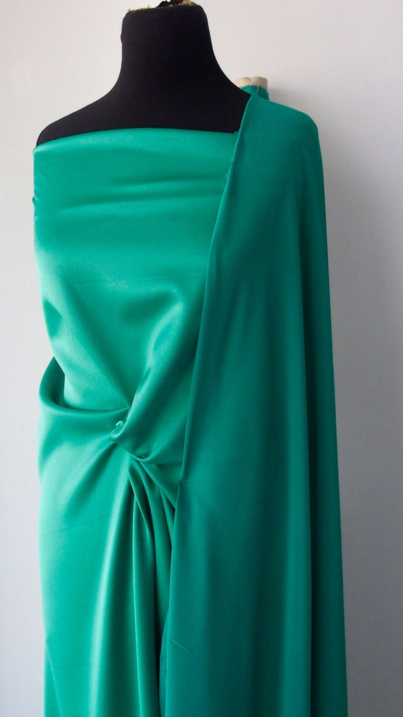 Emerald green crepe satin fabric 2 ways stretch polyester for Emerald satin paint