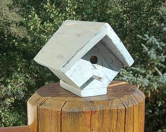 Vintage Birdhouse  Solid Wood Weathered Shabby Distressed