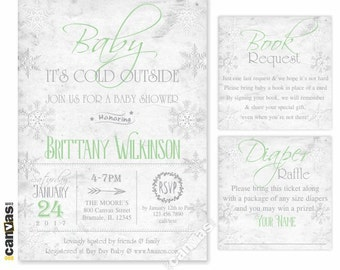 Baby Its Cold Outside Baby Shower Invitation, Winter Wonderland Gender Neutral Snowflakes Shabby Chic Couple Coed Printable or Printed Bs267