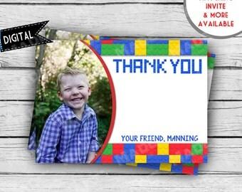Digital LEGO Photo THANK YOU Card, First Birthday, Second Birthday, Girl Birthday, Boy Birthday, Party, Printable Stationery, Legos