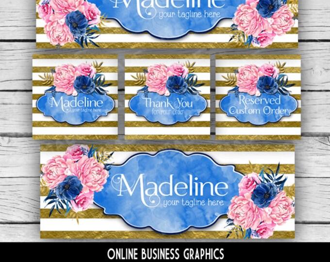 ETSY & SOCIAL MEDIA Set - Madeline Design - Indigo Blue Striped Floral, Watercolor Etsy Set, Etsy Banner Set, Digital, Business