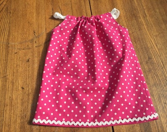 Pink with white polka dot sun dress