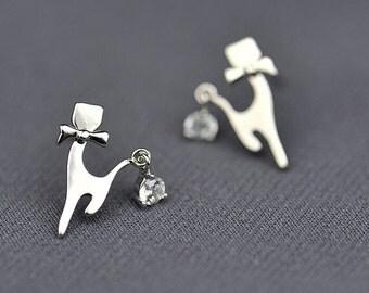 Bow Tie Cat Earrings,Little Kitty Earring With Zircon Tail,Wedding Jewelry,ER058,Polished Silver Earrings
