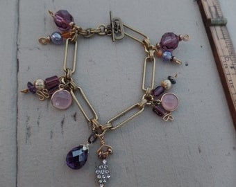 Purple and Pink Charm bracelet