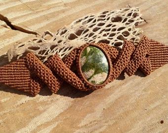 unakite cabochon handmade macrame gemstone bracelet with adjustable length