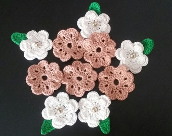 Set of 10 Crochet Flowers Appliques,Crochet Flowers set of 10,Crochet Flowers