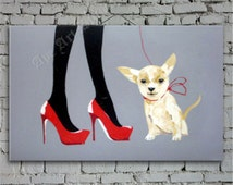 Woman and pet dog oil painting,red high heels and dog large oil painting,abstract oil painting,art,hand painted on canvas by Ape Art Studio