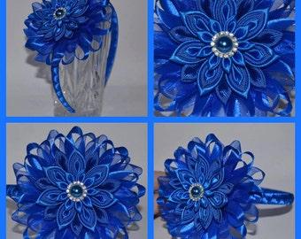 Handmade Girl's Party Headband/Clip in Royal Blue, Kanzashi, Christening/Wedding