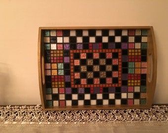 Mosaic glass wooden serving tray