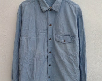 Vintage 90s ISSEY MIYAKE Denim Jeans Button Downs Casual Shirt