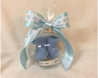 Gender Reveal - It's a Boy!/Pregnancy Announcement Ball Ornament with Baby Booties for Boy - Tiny Feet