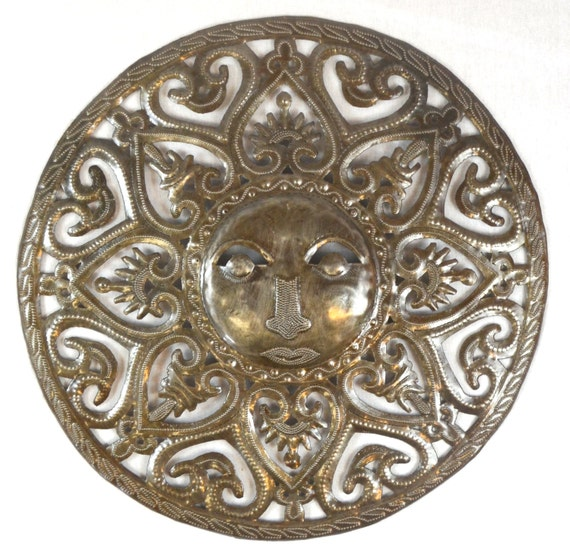 """Metal Sun - Handcrafted Wall Art From Haiti, Recycled Oil Drums 17"""" x 17"""""""