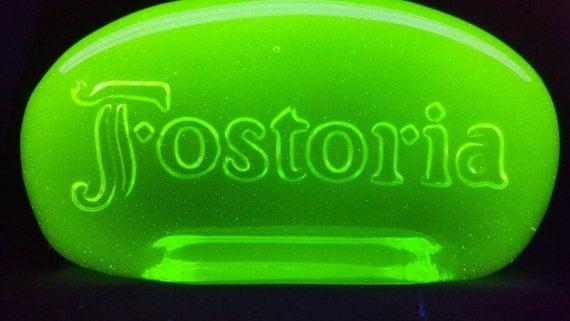 green vaseline uranium fostoria glass advertising logo sign