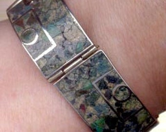 Mexican Sterling Bracelet: E. Brito Crushed Stone Bracelet