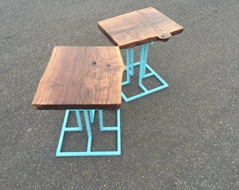 Custom end tables.