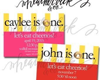 Cheerio Birthday Party Invitation