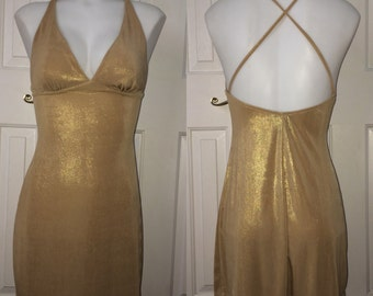 Vintage 90s Gold Party Dress