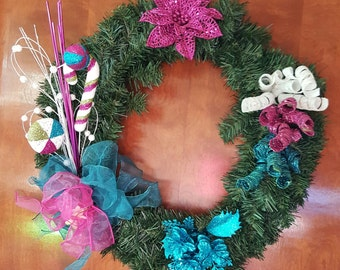 12 inch Christmas wreath with pink and teal accents