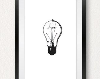 Home Decor,Minimalist Art,Wall Art,Art,Art Print,Urban Decor,Minimalist,Poster,Light Bulb Illustration,Print,Illustration,Graphic,Light Bulb
