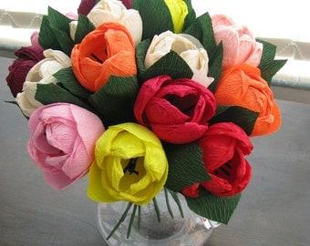Paper flower tulips, Table flower wedding decor, Home decor, Bridal bouquet, Bridal flowers, Wedding bouquet, Centerpieces, Paper tulips,