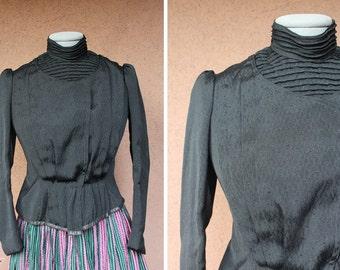 Vintage 1800's Victorian Jacket – 1889 Victorian Black Jacket – Victorian Peplum croped Jacket - Size Xs/S
