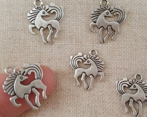 Pony Charms x 5.  Carnival Horse Charms. Fairground Horse Charms. My Little Pony Charms.  Antique Silver Tone - UK seller