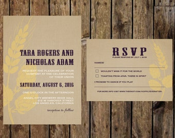 Printable DIY Brewery Wedding Invitation. Modern Beer Wedding themed invitation and rsvp set. For the Love of Beer, hops, wheat, and burlap.