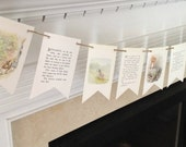 Beatrix Potter BOOK PAGE BANNER sign garland  Peter Rabbit Jemima Puddle duck Benjamin Bunny and more
