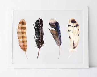 "Printable Art ""Rustic Feathers"" Wall Art Wall Prints Feather Art Feather Prints Feather Print Feathers Art Rustic Art Rustic Prints"
