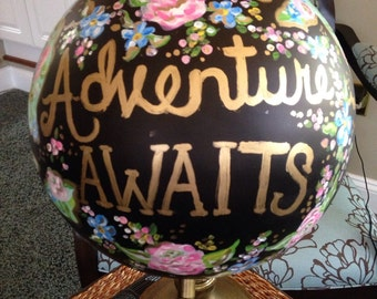 "Painted globe ""Adventure  Awaits"""